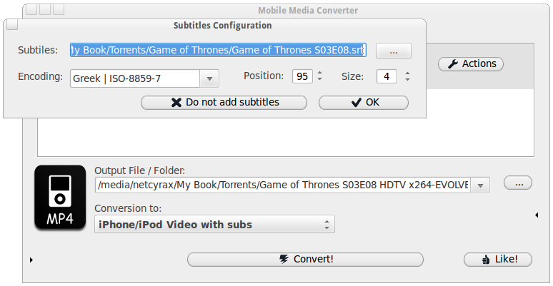 Mobile Media Converter subtitles window